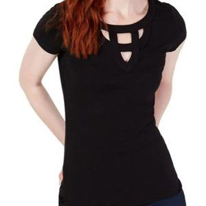 I.N.C TOP Petite Cut-Out Short-Sleeve Tee